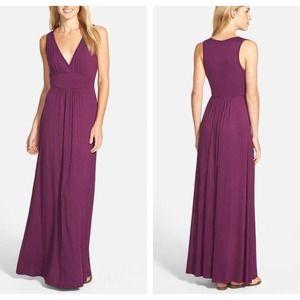 Loveappella V-Neck Jersey Maxi Dress Purple Large
